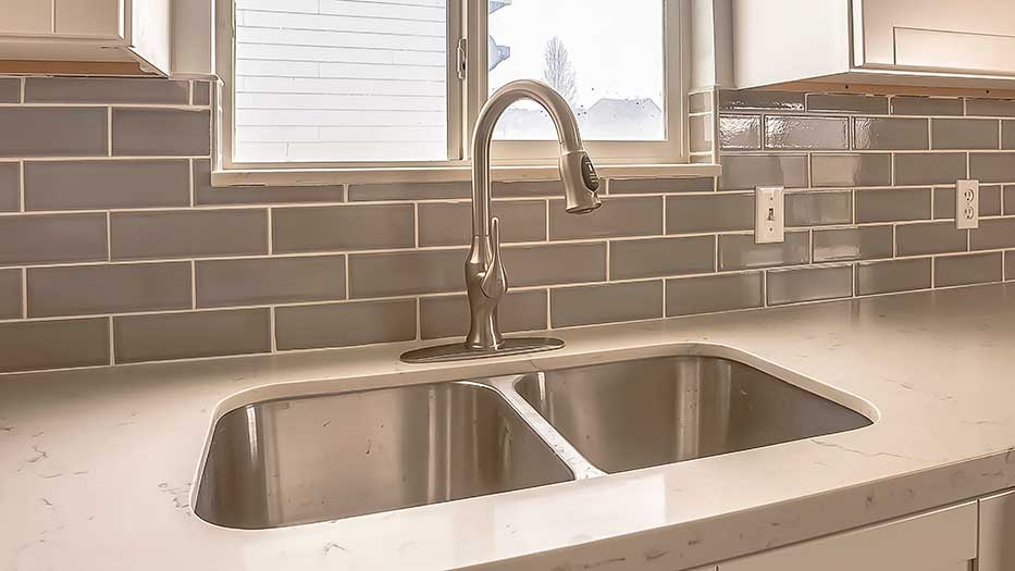 Silver kitchen sink